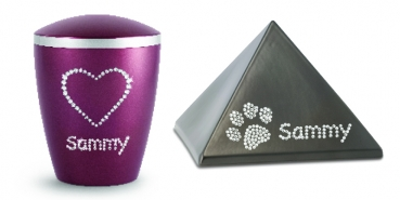 Option: personalized your urn with nom of Swarovski crystals