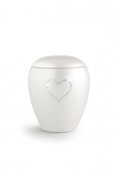 Pet urns Crystal  Color:  Pearl white with heart