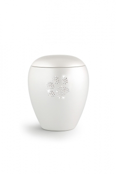 Pet urns Crystal  Color:  Pearl white with paw