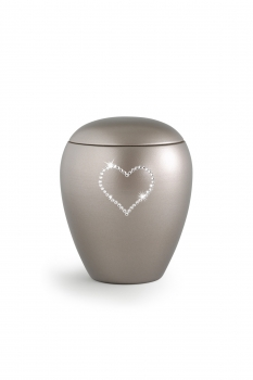 Pet urns Crystal  Color: Olive grey with heart