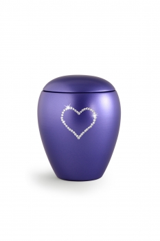 Pet urns Crystal  Color:  Blue lilac with heart