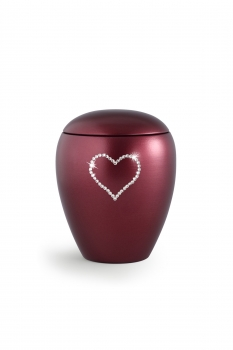 Pet urns Crystal  Color:  Red with heart